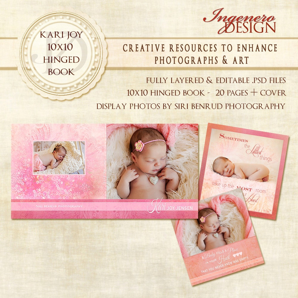 baby girl photo book template book digital photo by ingenerodesign. Black Bedroom Furniture Sets. Home Design Ideas