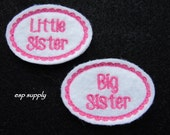 Big Sister -Little Sister --White and Hot Pink-- Machine Embroidered   FE-612