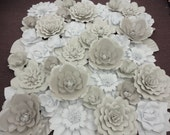 White Paper Flower Wall Extra Large Paper Flowers Decoration Photo Backdrop Prop - 24 sq ft up to 100 sq ft
