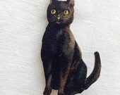 Black Cat Pin Halloween Wooden Brooch Crazy Kitty Lady Wooden Brooch Pin Halloween Birthday Gift Christmas Stocking Filler Small Present