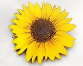 Sunshine Yellow and Brown flower Blowing in the Wind Wooden Brooch Pin Gift Laser Cut Flower Power Gift for Mothers Wife Her Birthday