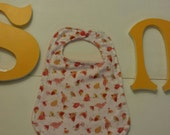 Baby girl chickadee baby bib organic ready to ship