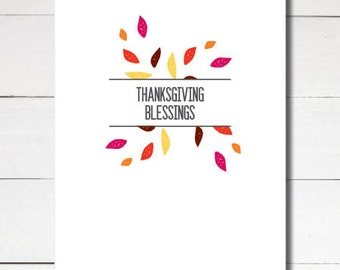 Instant Download Printable Thanksgiving Blessings greeting card size A2 4.25x5.5
