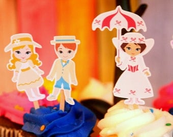 Mary Poppins Cupcake Toppers Set of 12
