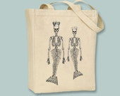 King and Queen Mermaid Skeletons Illustration on Canvas Tote -- Selection of sizes available