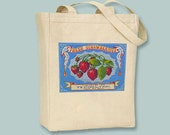 Gorgeous Strawberries Vintage Label on Natural or Black Tote  - Selection of sizes and personalizatin available