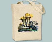 Gorgeous Vintage Yellow Mushrooms illustration transferred onto Canvas Tote -- Selection of sizes available