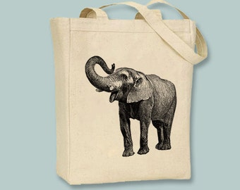Vintage Elephant Image Canvas Tote Bag -- Selection of  sizes & ANY IMAGE COLOR available
