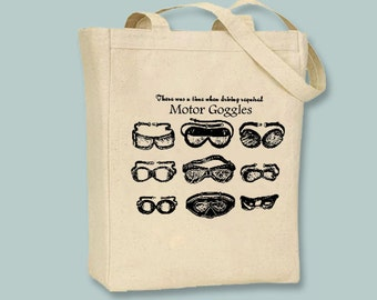 """Fun """"Motor Goggles"""" illustration on Canvas Bag with zipper top and shoulder strap - Selection of sizes and colors available"""