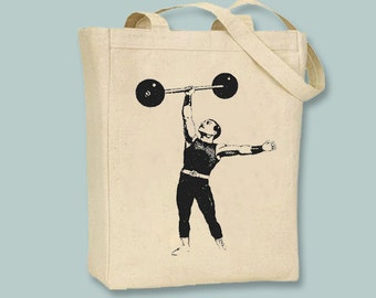 Circus Strong Man Performer with Barbells on Canvas  tote - Selection of sizes available