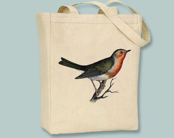 Gorgeoous Vintage Robin Bird on Canvas Tote  - selection of sizes available
