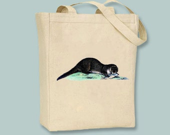 Vintage Otter Illustration Canvas Tote -- Selection of  sizes available
