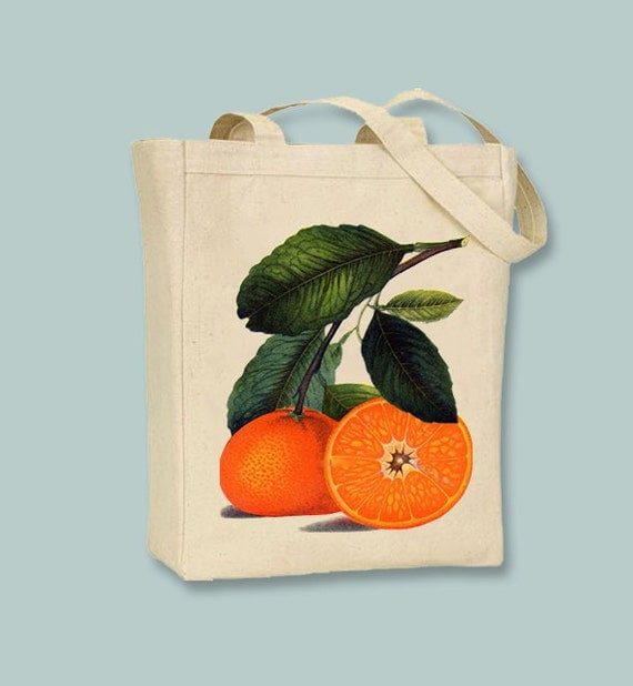 Vintage Oranges Illustration Canvas Tote - Selection of sizes and personalizatin available