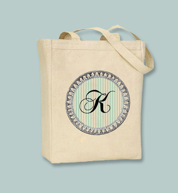 Striped Circle with Script Monogram Design on Natural or Black Canvas Tote -- Selection of sizes available, image in ANY COLOR