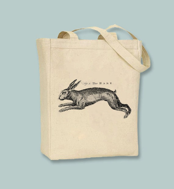 Vintage Fig 1. The Hare, Rabbit, Bunny, Canvas Tote -  Selection of  sizes available