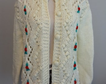 70s Vintage Red Rose Buds Hand Knit Cardigan Knitted Christmas Sweater  By Panda M-L