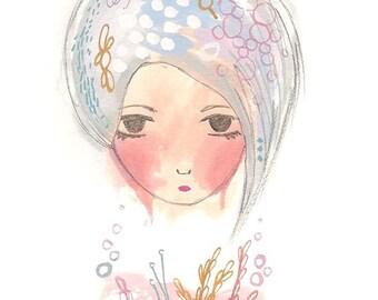 Print cool short hair lilac 6 x 4 giclee girl illustration