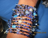 Hand Made Multi Wrap Blues/Black & Faux Pearl/Cat's Eye with Fringe Coil/ Memory Wire Bracelet...... ..1512h