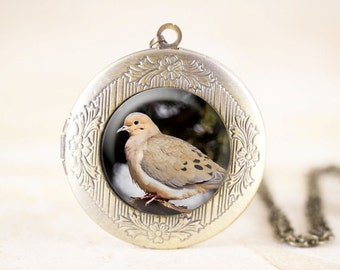 Dove Bird Locket - Mourning Dove Jewelry Locket, Bronze Bird Jewelry, Woodland Bird Necklace Locket, Bird Photography Jewelry