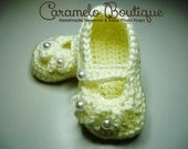 Ivory Baptism Christening Baby Girl Shoes-Baptism Mary Janes Shoes-Christening Baby Girl Shoes-Newborn Baby Girl Mary Janes-Photography Prop
