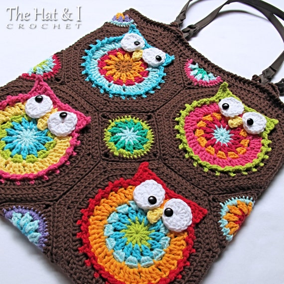 CROCHET PATTERN - Owl Tote'em - a colorful crochet owl tote pattern, colorful owl bag pattern, purse pattern w/ owls - Instant PDF Download
