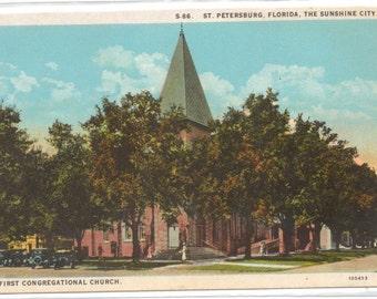 """Florida, Postcard, """"First Congregational Church, St. Petersburg, Florida, """"   1920s,  #441-2"""