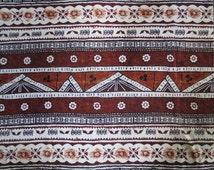 "1970's Bark Cloth Yardage // Fabric // Browns, Cream, Black // Tiki Design...42"" x 78"""