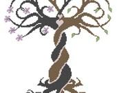 Modern Cross Stitch Wedding Pattern Entertwined Tree Wedding Sampler