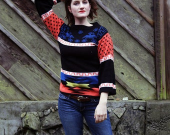 70s THUNDERBIRD Colorful Southwestern Totem Acrylic Sweater, Women's Small