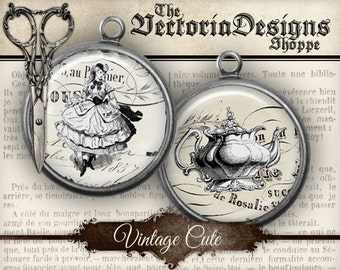 Vintage Cute Circles - 1 inch / 20mm / 18mm / 16 mm / 14mm / 0.5 inch - VDCIVI0057