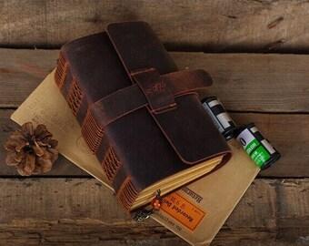 Vintage leather Journal Traveler's Notebook   Leather diary   leather notebook with leather strap closure