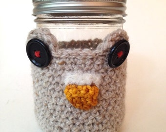 Crochet Mason Jar Cozy -- Wise Old Owl