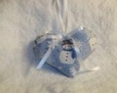 Blue  Heart Sachet Sandalwood Snowman