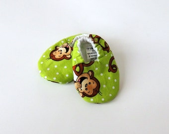 Laughing Monkey in Green Crib Shoes - Infant Boys - Baby Shower Gift