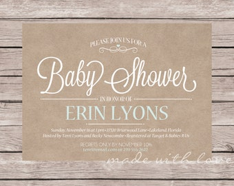 Baby Boy or Girl-A shower/party Invitation, personalized and printable, 5x7