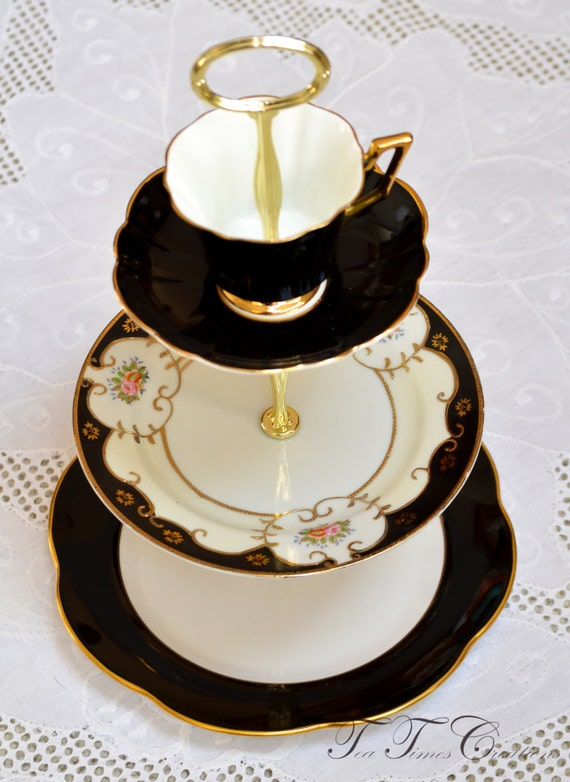 3 Tier Black and Gold Vintage China Tea Cake Stand Black and Gold for Weddings, Jewelry Display, Tea Parties, FREE shipping
