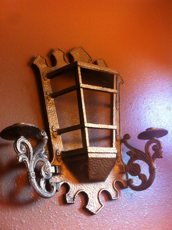 Lantern wall sconce double candle wall hanging gothic by ...