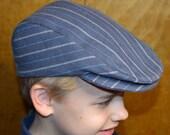 Driver cap hat, newsboy cap hat, toddler child size, grey stripe wool, satin lined, flat cap Irish hat usa handmade Amy's Top Stitching Co.