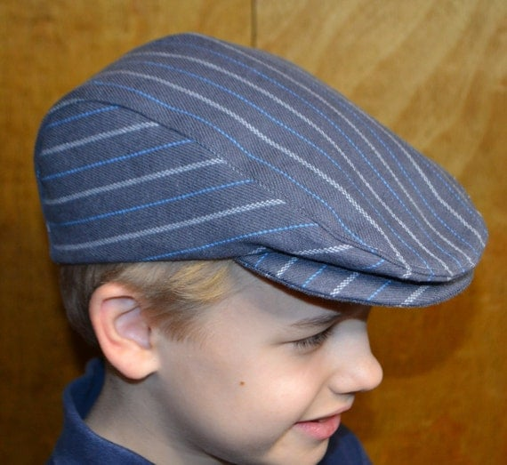 Driver cap hat, newsboy cap hat, toddler child size, grey stripe wool, satin lined, flat cap Irish hat usa handmade Amy's Top Stitching Co.