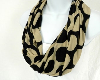 Neutral Black and Tan Polka Dot Single Loop Infinity Scarf Two Fabrics Reverse the Positive and Negative Large Polka Dots Handmade Fashion