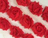 "Red  Petite Shabby Rose Trim 1.5"" small Shabby Flowers Mini Shabby Chiffon Flowers - 1 yard - Chiffon Flower Shabby Chic Wholesale 3cm P302"