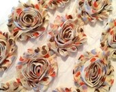 "Orange Brown Blue Polka Dot Shabby Rose Trim 2.5"" Shabby Flowers Shabby Chiffon Flowers Printed Chic Trim Wholesale Rosette trim 6cm 1 yard"
