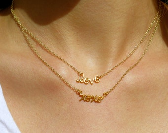 XOXO Gold Necklace - Love Charm Necklace - Gold Necklace
