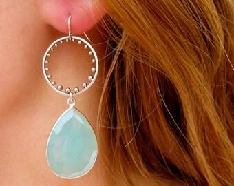 Silver Gemstone Hoop Earrings - Gemstone Earrings - Drop Earrings - Bridesmaid Earrings