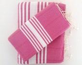 Turkish Towel and Head Towel Set, Natural Peshtemal and Peshkir set, Hammam, girlfriend gift, spa, yoga, bathroom, beach, pink,