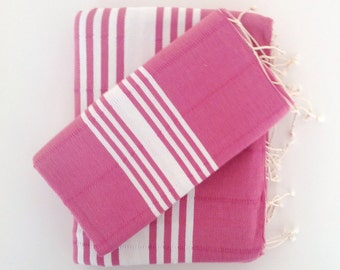 Turkish Towel and Head Towel Set, Natural Peshtemal and Peshkir set, Hammam, Mother's day gift, spa, yoga, bathroom, beach, pink,