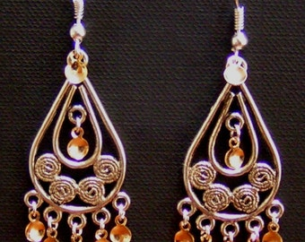 Kiersti - Antique Silver Plated Teardrop Filigree Norwegian Solje Style Earrings with Seven Gold Drops and Silver Plated Earwires