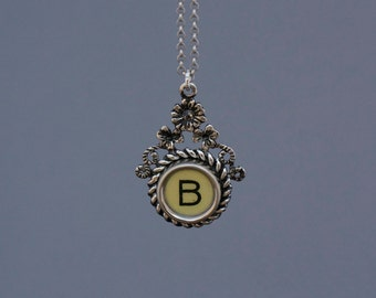 "Typewriter Key Jewelry-Typewriter Key Necklace -Vintage White Typewriter Key -Letter ""B""-Typewriter Key Pendant-Typewriter Accessory"