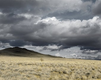 Desert Photography Print 12x18 Fine Art New Mexico Volcano Storm Field Clouds Winter Landscape Photography Print.