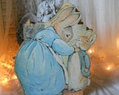 Vintage Beatrix Potter's Peter Rabbit And Mama Rabbit Bag Heavy Bag Witn Braided Off- White Cord Handle Sturdy Bag Container Paper Ephemera